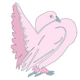 Pink silhouette dove Royalty Free Stock Photos