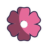 Pink silhouette figure flower icon floral. Vector illustration Royalty Free Stock Photo