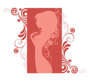 Pink silhouette of the girl in profile. Vector silhouette of the girl with long hair in profile Stock Photo