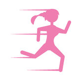Pink silhouette girl running sport Stock Images