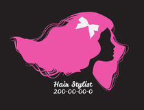 Pink silhouette of woman with long hair. Template design card fo Stock Photography