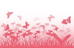 Pink silhouettes of butterflies and flowers Stock Photos