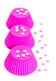 Pink  silicone baking cups. Royalty Free Stock Photography