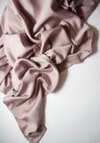 Pink silk drapery. Curvy drapery with empty copy space Stock Photos
