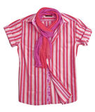 Pink silk strip blouse shirt Stock Image