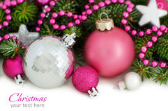 Pink and silver Christmas ornaments border Royalty Free Stock Image
