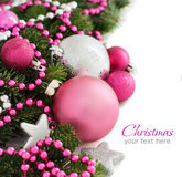 Pink and silver Christmas ornaments border Stock Photo