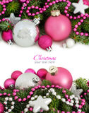 Pink and silver Christmas ornaments Stock Photo