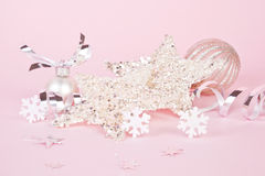 Pink and silver christmas still life. stock photos
