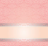 Pink & silver gentle invitation vintage wallpaper design Royalty Free Stock Images