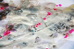 Silver pink gold waxy strokes, watercolor pastel vivid background, texture Stock Photo