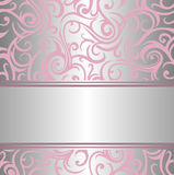 Pink & silver invitation design Stock Images