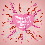 Pink , silver and red ribbon and Happy valentine's day banner , vector illustration Stock Image