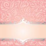 Pink & silver retro decorative invitation vintage wallpaper design Royalty Free Stock Image