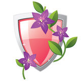 Pink and silver shield Stock Photo