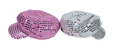 Pink and Silver Sparkle Caps Royalty Free Stock Photos