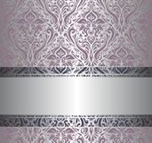 Pink & silver vintage wallpaper Stock Image