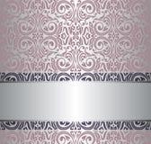Pink & silver vintage wallpaper invitation design Stock Photo