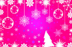 Pink simple Christmas background. Pink Christmas illustration with white balls and snowflakes. Christmas Greeting Card 2014.Bright winter background with Royalty Free Illustration