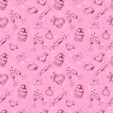 Pink sketchy Valentine's day seamless pattern royalty free stock photos