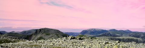 Morning pink skies over the fells Stock Image