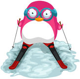 Pink skiing penguin Stock Photography