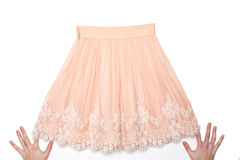 Pink skirt with lace Royalty Free Stock Photos