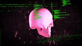 Pink skull and codes. Digitally generated animation of a pink skull rotating against a dark background with digital interface and codes vector illustration