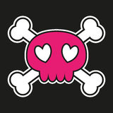 Pink skull with crossbones Royalty Free Stock Images