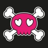 Pink skull with crossbones. On black background with heart shaped eyes. Vector illustration stock illustration