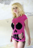 Pink skull girl Royalty Free Stock Images
