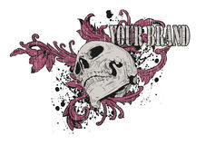 Pink Skull Graphic. Grunge t-shirt design of a skull wrapped in pink vines Royalty Free Stock Photo