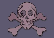 Pink skull vector. Skull with two bones - pirates flag Royalty Free Stock Photo