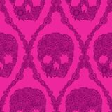 Pink skulls damask pattern Royalty Free Stock Photos