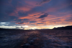 Pink sky. Pink sky over the Beagle Channel Royalty Free Stock Photo