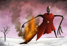 Pink Sky. A surreal painting of a strange figure bounding across a snowy landscape with a wooden leg on fire Royalty Free Stock Photos