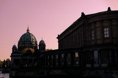 Pink sky in Berlin royalty free stock photos