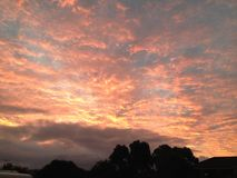 Pink Sky. Pink fiery sky at dusk Stock Photography