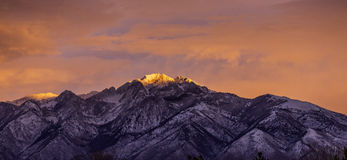 Pink Sky And Light On Mountain Stock Photos