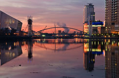 Pink sky at Lowry salford quays royalty free stock photos