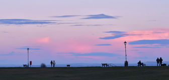 Pink Sky at Lytham in Lancashire stock photo