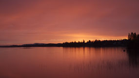 Red sunset over a lake Stock Image