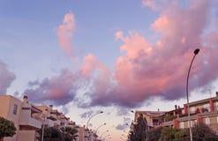 Pink sky over Fertilia Stock Photo