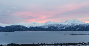 Pink sky over Homer Stock Photo