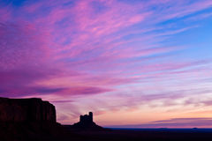 Pink Sky over Monument Valley. Dramatic pink sky over Monument Valley, Utah Stock Photography