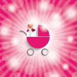 Pink Sky Rays Girl Baby Buggy Stock Photos