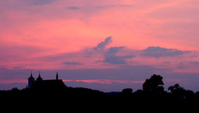 Pink sky silhouette Royalty Free Stock Image