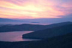 Pink sky, sunrise, sunset of the bay and islands Stock Photography