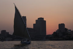 Pink sky during sunset in Cairo Royalty Free Stock Photos