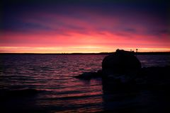 Pink sky Sunset with water Stock Photography